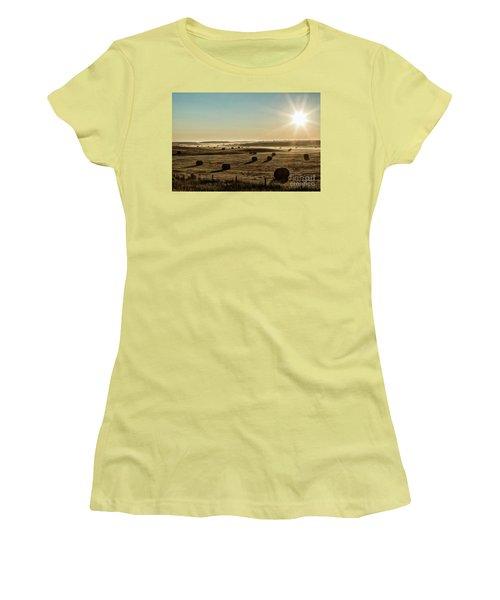 Women's T-Shirt (Junior Cut) featuring the photograph September Hay by Brad Allen Fine Art