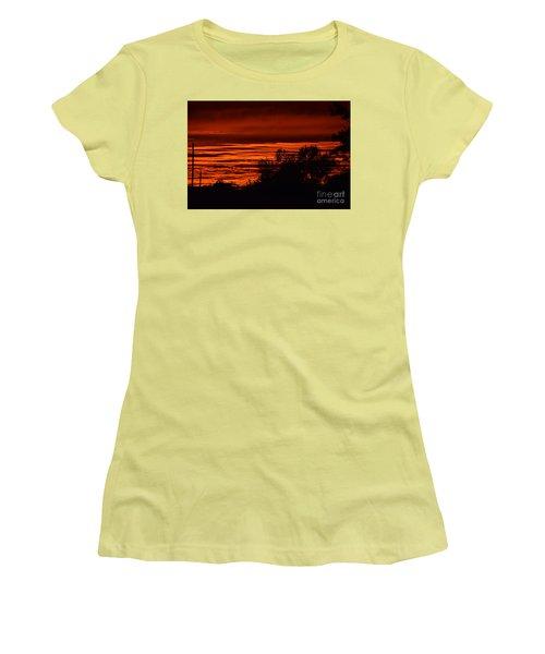 Women's T-Shirt (Junior Cut) featuring the photograph September Kansas Sunset by Mark McReynolds