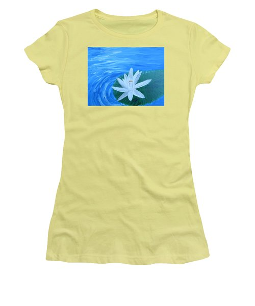 Serenity White Water Lily Women's T-Shirt (Athletic Fit)