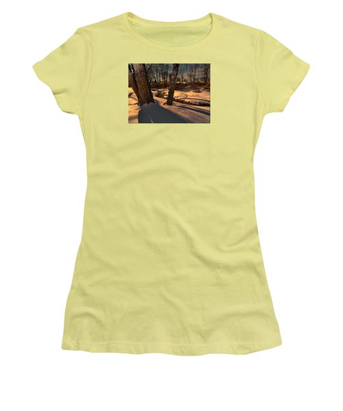 Setting Sun On A Winters Day Women's T-Shirt (Junior Cut) by Mikki Cucuzzo