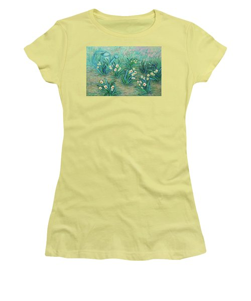 Women's T-Shirt (Athletic Fit) featuring the painting Seven Daffodils by Xueling Zou