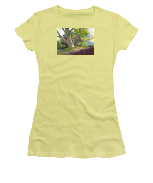 Women's T-Shirt (Junior Cut) featuring the painting Shady Oasis by Michael Humphries