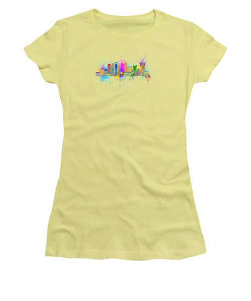Shanghai Skyline Paint Splatter Illustration Women's T-Shirt (Athletic Fit)