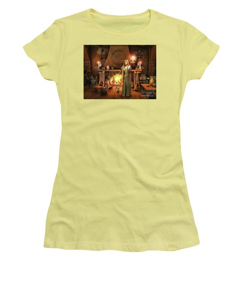 Women's T-Shirt (Junior Cut) featuring the painting Share My Fire And Candle Light by Dave Luebbert