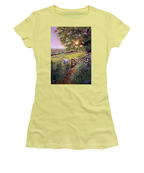 Sheep At Sunset Women's T-Shirt (Athletic Fit)