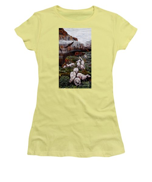 Women's T-Shirt (Junior Cut) featuring the painting Sheep In The Mountains  by Judy Kirouac