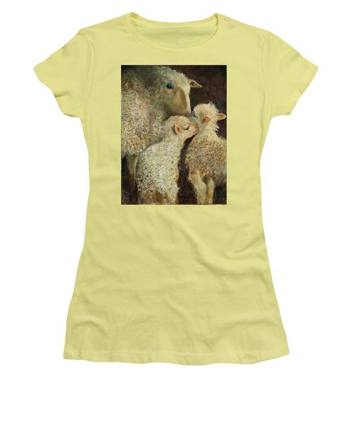 Sheep With Two Lambs Women's T-Shirt (Athletic Fit)