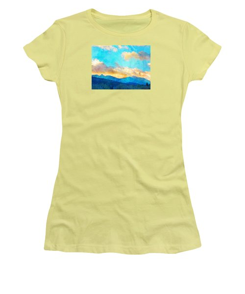 Women's T-Shirt (Junior Cut) featuring the photograph Sheeps Head And Truchas Peaks-predawn December by Anastasia Savage Ealy