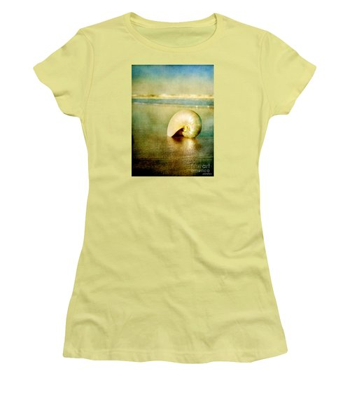 Women's T-Shirt (Junior Cut) featuring the photograph Shell In Sand by Linda Olsen