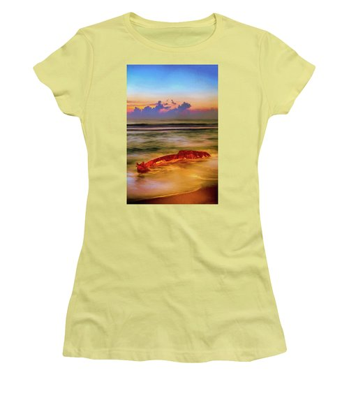 Women's T-Shirt (Junior Cut) featuring the painting Shipwreck On The Outer Banks The End Ap by Dan Carmichael