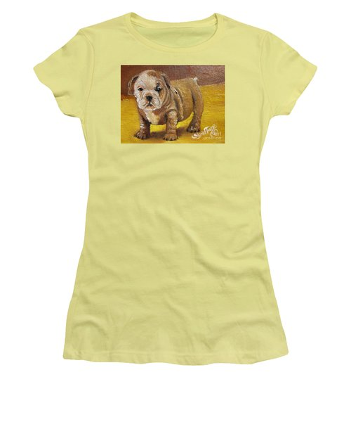 Chloe The   Flying Lamb Productions      Shortstop The English Bulldog Pup Women's T-Shirt (Athletic Fit)