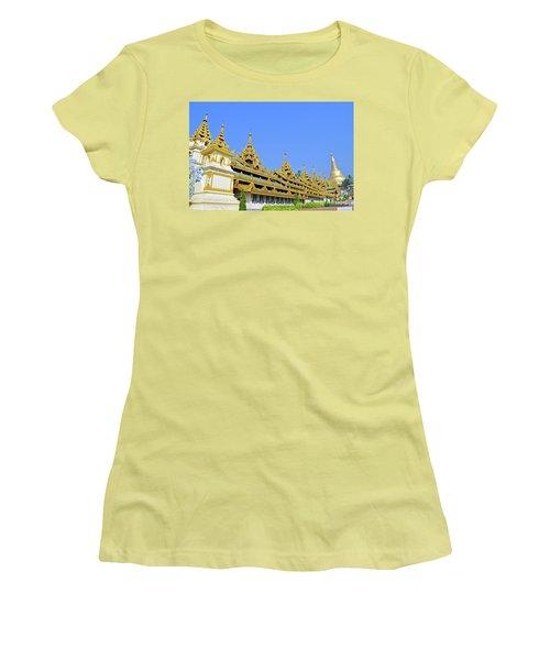 Women's T-Shirt (Junior Cut) featuring the digital art Shwedagon Pagoda  by Eva Kaufman