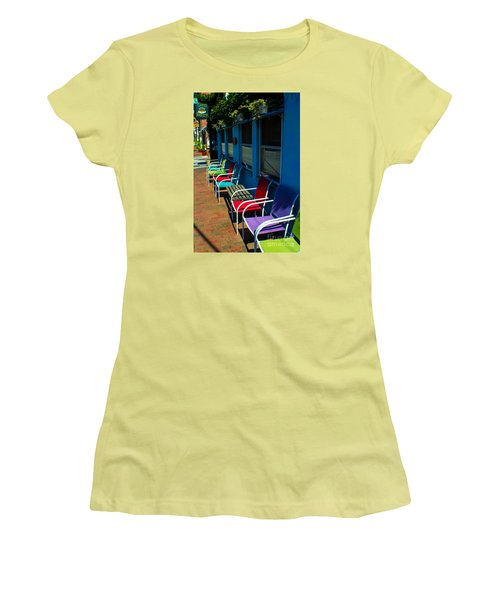Sidewalk Cafe Women's T-Shirt (Athletic Fit)