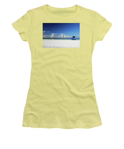 Women's T-Shirt (Athletic Fit) featuring the photograph Siesta Key Life Guard Shack by Gary Wonning