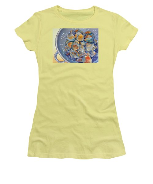 Women's T-Shirt (Junior Cut) featuring the painting Silence Of The Clams by Judy Mercer