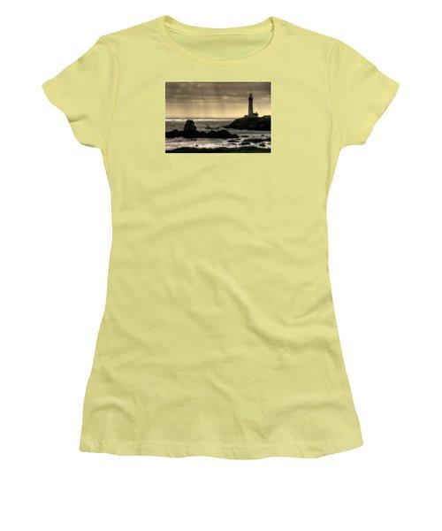 Silhouette Sentinel - Pigeon Point Lighthouse - Central California Coast Spring Women's T-Shirt (Junior Cut) by Michael Mazaika
