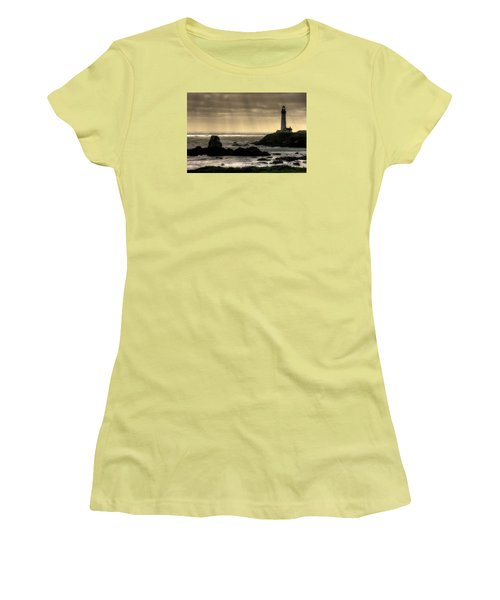 Silhouette Sentinel - Pigeon Point Lighthouse - Central California Coast Spring Women's T-Shirt (Athletic Fit)