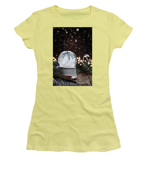 Women's T-Shirt (Junior Cut) featuring the photograph Silver Snow Globe by Stephanie Frey