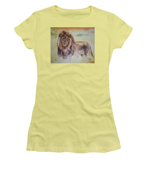 Women's T-Shirt (Junior Cut) featuring the painting Simba by Sandra Phryce-Jones