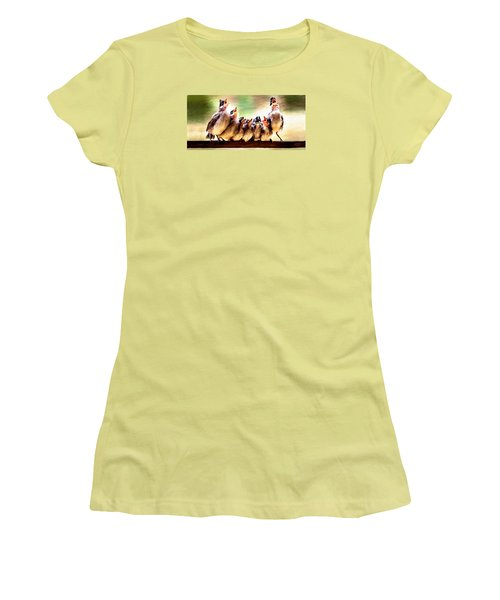 Women's T-Shirt (Junior Cut) featuring the painting Singing For Supper by James Shepherd