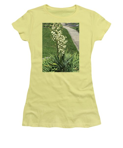 Women's T-Shirt (Athletic Fit) featuring the photograph Single Strand White Flower Nature Photography Birthday Christmas Holidays Festivals Mom Dad Sister  by Navin Joshi