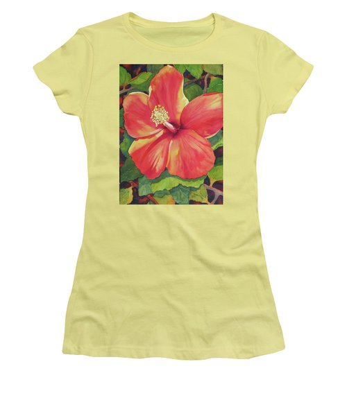 Women's T-Shirt (Junior Cut) featuring the painting Sizzle by Judy Mercer