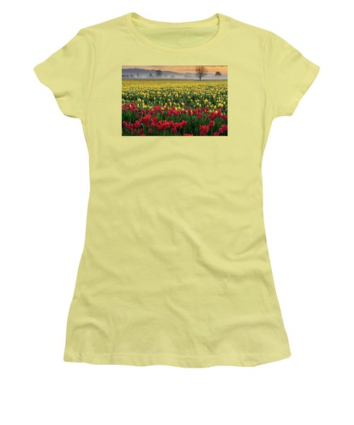 Skagit Valley Misty Morning Women's T-Shirt (Athletic Fit)