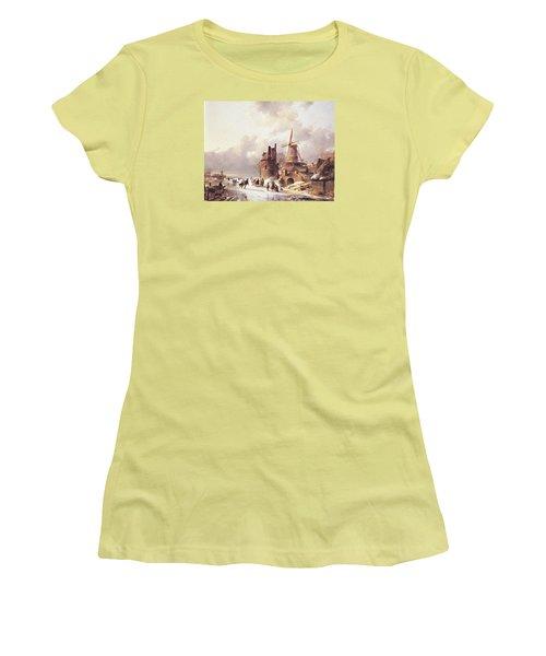 Skaters On A Frozen River Women's T-Shirt (Junior Cut) by Reynold Jay