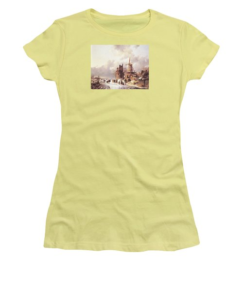 Skaters On A Frozen River Women's T-Shirt (Athletic Fit)