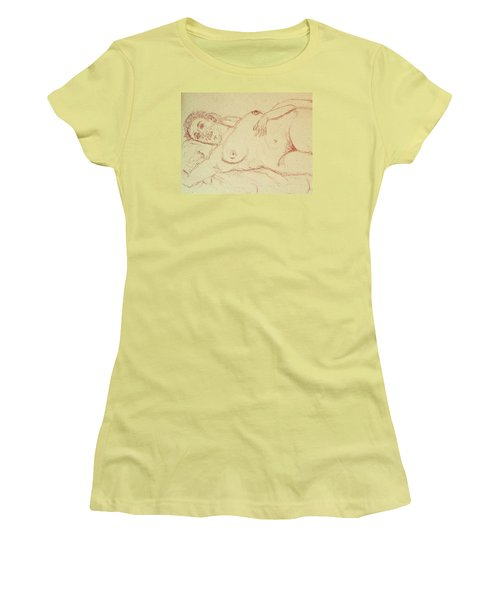 Nude Laying In Red Women's T-Shirt (Junior Cut) by Rand Swift