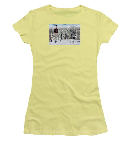 Skiers Limber Up Under A Gondola Near The Summit Of Aspen Mountain Women's T-Shirt (Athletic Fit)
