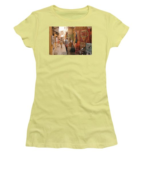 Skn 1226 The Squeezed Lane Women's T-Shirt (Junior Cut) by Sunil Kapadia