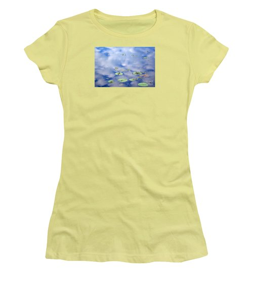 Sky And The Lily Pads Women's T-Shirt (Junior Cut) by Lila Fisher-Wenzel