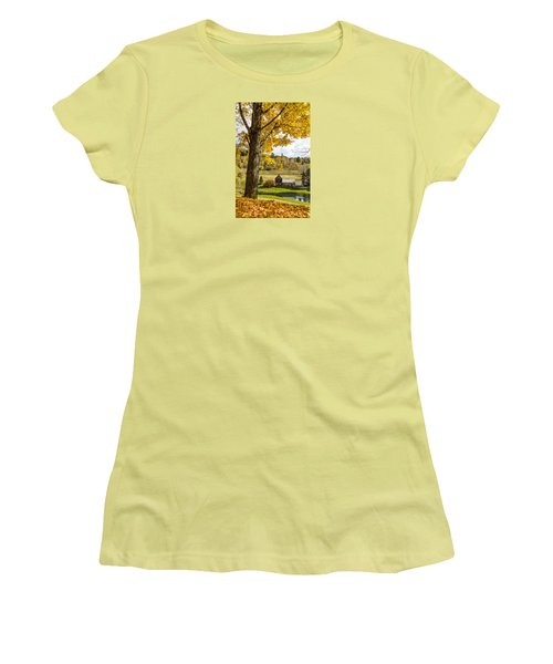 Women's T-Shirt (Junior Cut) featuring the photograph Sleep Hollow Farm Woodstock Vt by Betty Denise