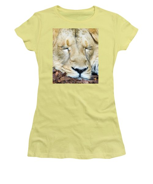 Women's T-Shirt (Junior Cut) featuring the photograph Sleeping Lion by Colin Rayner