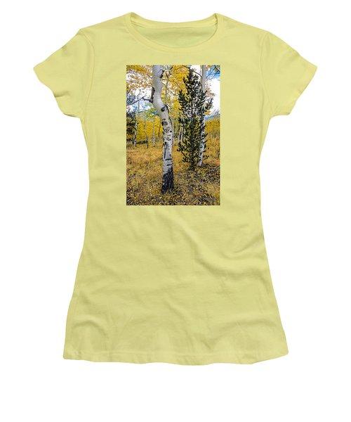 Slightly Crooked Aspen Tree In Fall Colors, Colorado Women's T-Shirt (Junior Cut) by John Brink