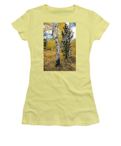 Slightly Crooked Aspen Tree In Fall Colors, Colorado Women's T-Shirt (Athletic Fit)