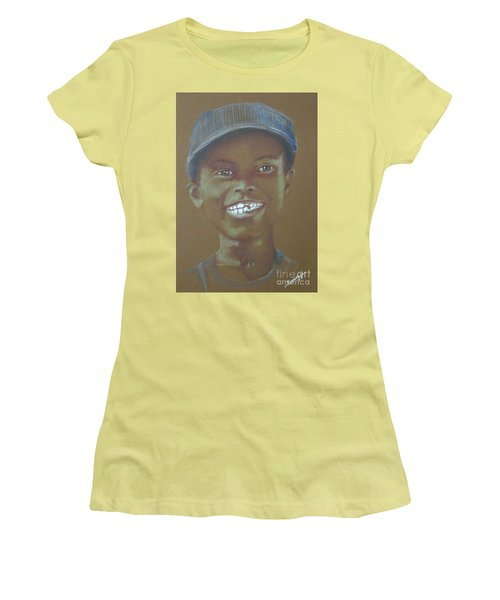 Small Boy, Big Grin -- Retro Portrait Of Black Boy Women's T-Shirt (Athletic Fit)