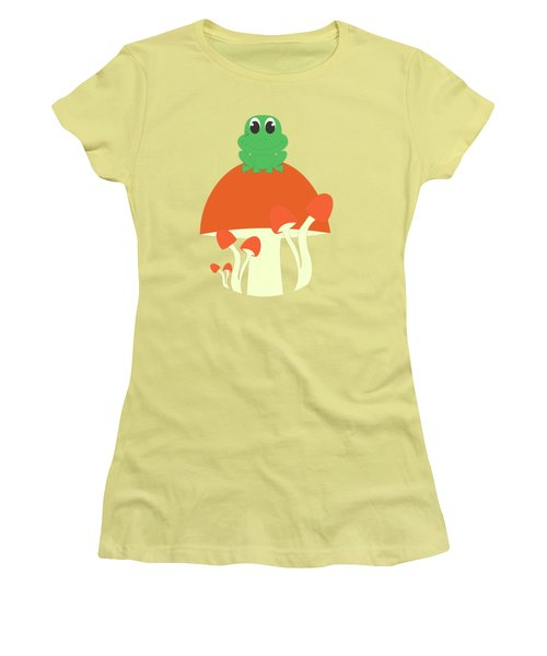 Small Frog Sitting On A Mushroom  Women's T-Shirt (Athletic Fit)