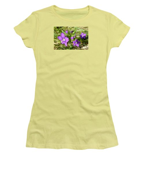Women's T-Shirt (Junior Cut) featuring the photograph Small Mauve Flowers by Jean Bernard Roussilhe