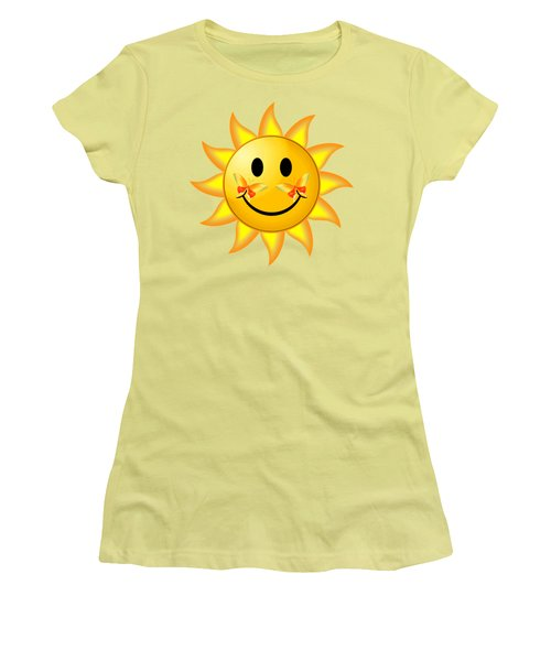 Smiley Face Sun Women's T-Shirt (Junior Cut) by Robert G Kernodle