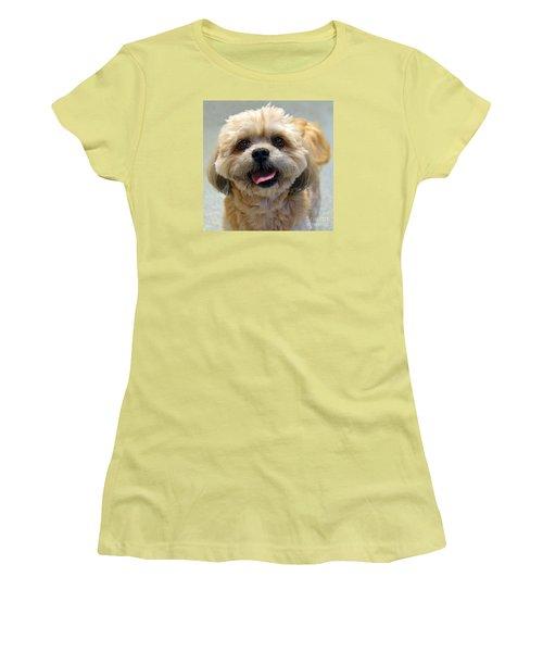 Smiling Shih Tzu Dog Women's T-Shirt (Junior Cut) by Catherine Sherman