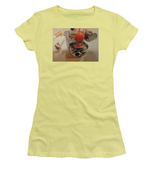 Women's T-Shirt (Junior Cut) featuring the painting Smoke Break by Cherise Foster