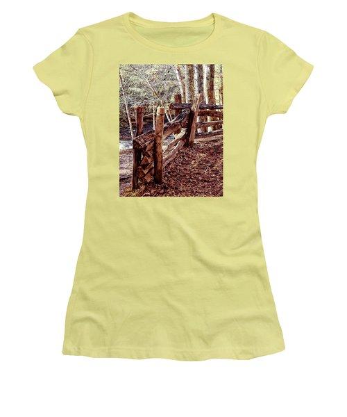 Snake Fence Women's T-Shirt (Junior Cut) by B Wayne Mullins