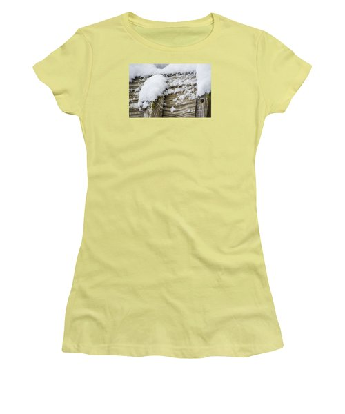 Snow Fluff And Woodgrain Women's T-Shirt (Junior Cut) by Deborah Smolinske