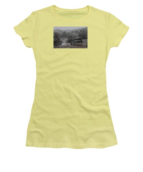 Snow In The Old Santa Fe Corral Women's T-Shirt (Junior Cut) by Christopher Kirby
