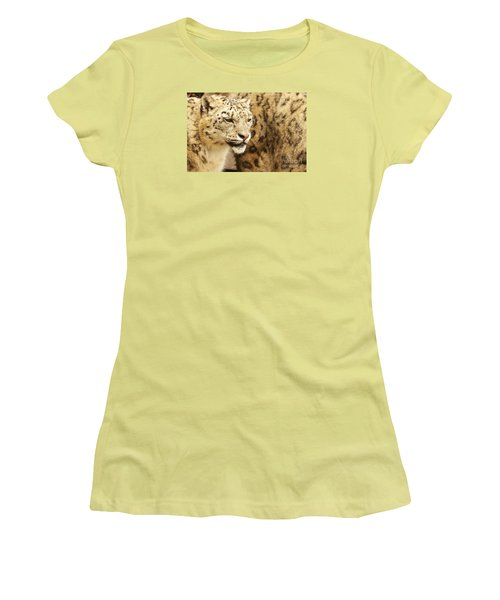 Snow Leopard  Women's T-Shirt (Junior Cut) by Gary Bridger