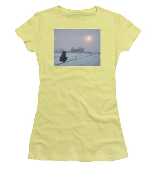 Snow Muted Sunset Women's T-Shirt (Junior Cut) by Judy Johnson