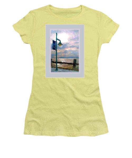Women's T-Shirt (Junior Cut) featuring the photograph Snow Waterfront Park Walk by Felipe Adan Lerma