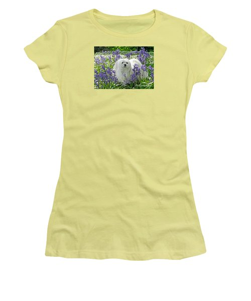 Women's T-Shirt (Junior Cut) featuring the mixed media Snowdrop In The Bluebell Woods by Morag Bates